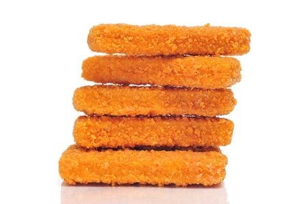 some fish sticks on a white background photo