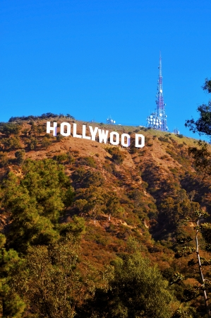 santa monica: Los Angeles, USA - October 17, 2011: Hollywood sign in Los Angeles. The sign, located in Mount Lee, spells out the name of the area in 45-foot-tall and 350-foot-long white letters