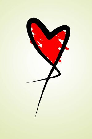 red heart drawn on a white background Stock Photo - 12021533