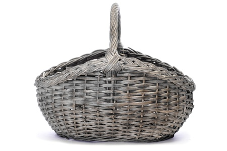 rattan: a rattan basket on a white background Stock Photo