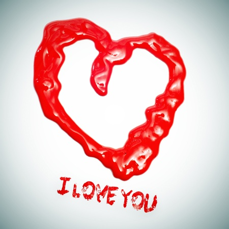 red paint heart and the sentence I love you Stock Photo - 12062153