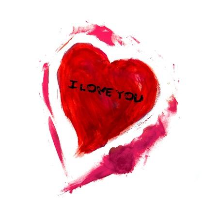 oracion: coraz�n rojo dibujado sobre un fondo blanco y la frase I love you escrito en �l Foto de archivo