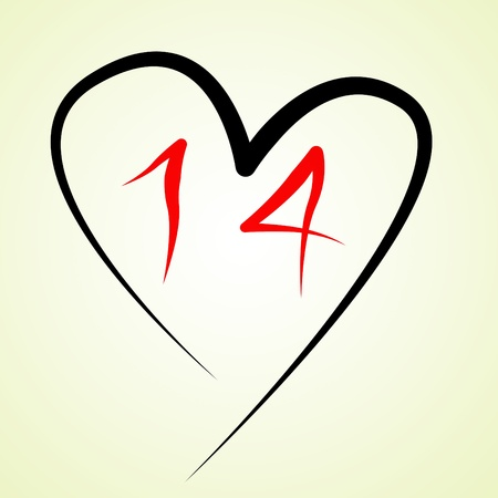 a heart drawn on a white background with a number 14 drawn in it, referring to February 14th photo