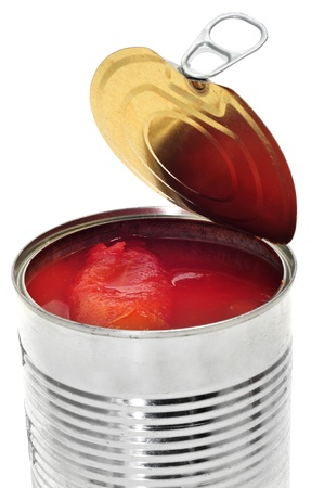 a can of whole peeled tomatoes on a white background photo