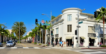 designer labels: Beverly Hills, USA - October 16, 2011: Rodeo Drive in Beverly Hills, US. There are more than 100 world-reknowed boutiques in this area