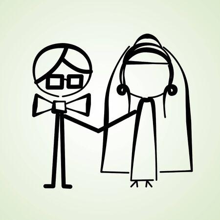 an illustration of a wedding couple Stock Illustration - 12210940