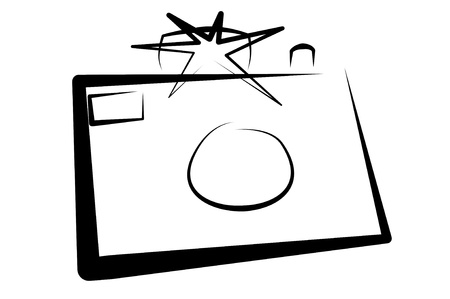 simplified: illustration of an old camera on a white background