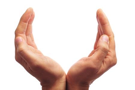 prayer hands: mani dell'uomo formando una tazza con uno spazio vuoto per inserire il testo all'interno