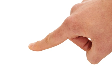 man finger pointing, clicking or pressing isolated on a white background Stock Photo - 12211008