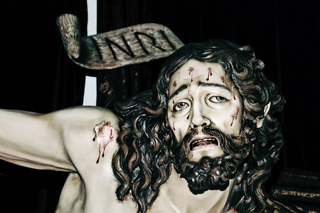 golgotha: a figure of Jesus Christ in the Holy Cross Stock Photo