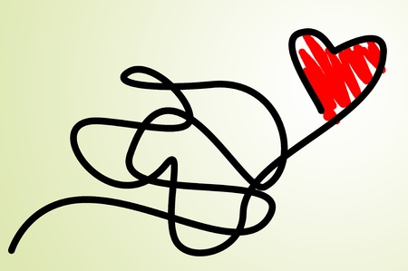 illustration of a red heart as a kite Stock Illustration - 12211004