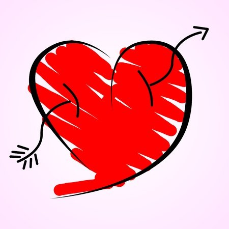 illustration of a red heart with arrow illustration