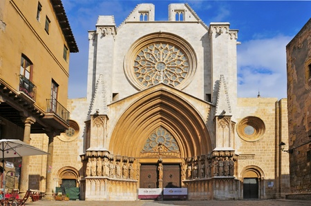 declared: Tarragona, Spain - January 28, 2011: Cathedral of Tarragona in Tarragona, Spain. Located in a site previously occupied by a Roman temple, it was declared a national monument in 1905