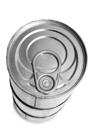 some cans on a white background photo