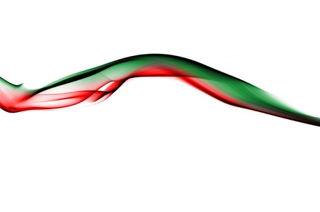 wavy green and red smoke on a white background photo