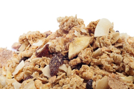 closeup of a pile of muesli on a white background photo