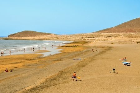 Granadilla de Arbona, Spain - June 20, 2011: Medano Beach in Granadilla de Arbona, Tenerife, Canary Islands, Spain. The beach has a length of 750 meters and an average width of 43 meters Stock Photo - 12256221