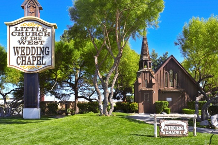 destination wedding: Las Vegas, USA - October 13, 2011: Little Church of the West in Las Vegas, USA. It is listed on the United States National Register of Historic Places and is the oldest building on the Strip