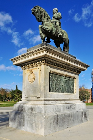 Barcelona, Spain - December 18, 2011: Monument to Prim in Parc de la Ciutadella in Barcelona, Spain. The original statue was destroyed in 1936 and the current one is a replica of 1948