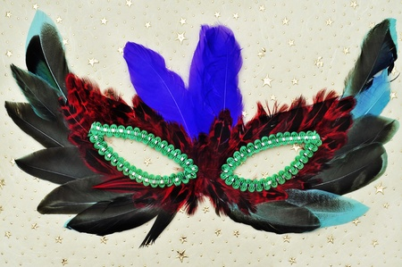 a carnival mask with feathers of different colors on an elegant patterned background photo