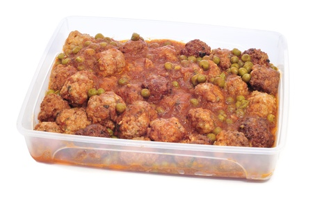 tupperware: spanish meatballs stew on a plastic container