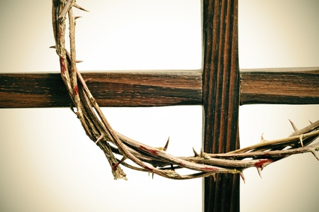 representations: representation of the crown of thorns and the cross of Jesus Christ Stock Photo
