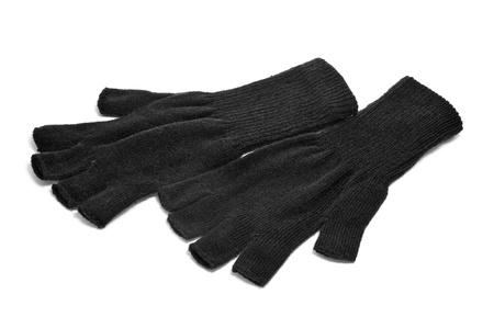 fingerless gloves: a pair of black fingerless gloves on a white background Stock Photo