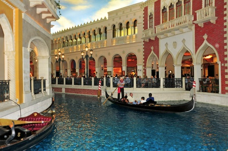 Las Vegas, US - October 12: Inside the Venetian Resort Hotel Casino on in Vegas, US. The luxury resort has a hotel with 4,049 suites and 4,059 hotel rooms