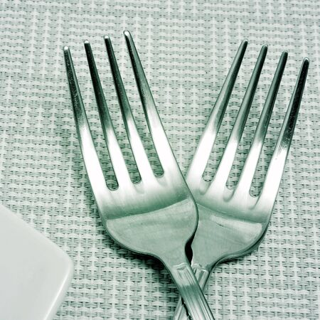 some forks and a plate on a tablecloth photo