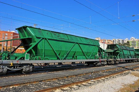 flatcar: freight cars in the railway Stock Photo