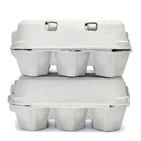 egg cartons on a white background photo