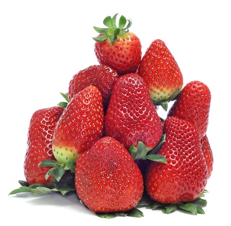 a pile of strawberries on a white background photo