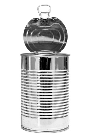 a cylindrical can on a white background photo