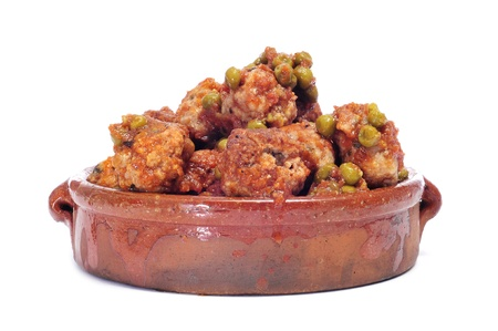 spanish meatballs stew on a white background Stock Photo - 12553848