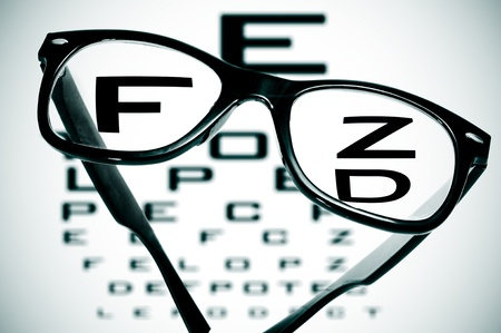long sightedness: eyeglasses over a blurry eye chart