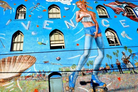 venus symbol: Venice, US - October 17, 2011: Famous mural in Venice Beach in Venice, US. Rip Cronk, the artist, painted some of the most famous murals along the boardwalk and its surrounding areas Editorial