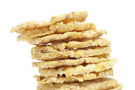 a pile of corn cakes isolated on a white background