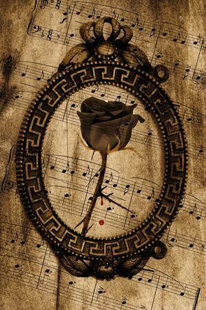 partition musique: style vintage fond à la rose dans un cadre et partition musicale