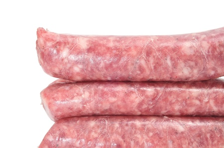 closeup of some pork meat sausages on a white background Stock Photo - 12553744