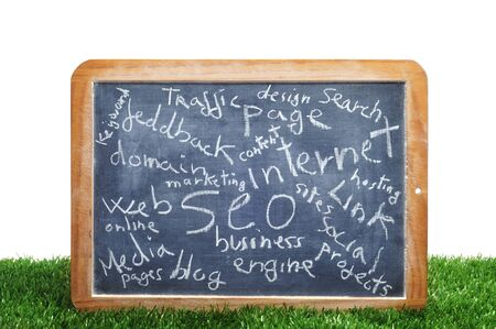 different concepts about social engine optimization and internet subjects written on a blackboard Stock Photo - 12893847