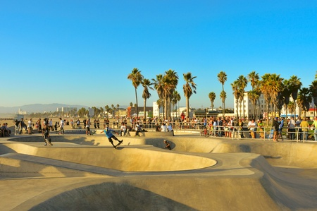 Venice, US - October 17, 2011: Skatepark of Venice Beach in Venice, US. This skatepark, with pool, ramps, stair set and flow bowls, celebrated its second anniversary on October 3, 2011