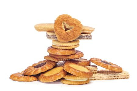 closeup of a pile of  different biscuits on a white background Stock Photo - 12893818