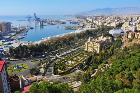 aerial view of the port and the coastline of Malaga city, Spain Stock Photo - 12893882