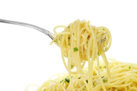 closeup of a plate with spaghetti photo