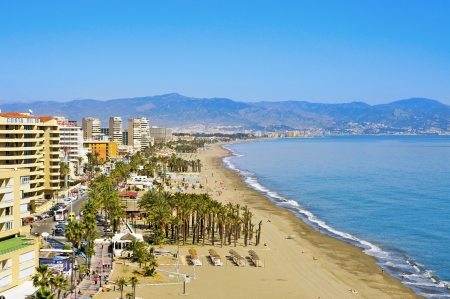 Torremolinos, Spain - March 13, 2012: Bajondillo Beach in Torremolinos, Spain. This popular beach is about 1,100 meters long and 40 meters average width
