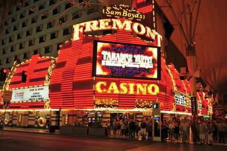 Las Vegas, US - October 13, 2011: Fremont Hotel and Casino in Vegas, US. The total gaming space of this legendary casino located in Downtown Las Vegas is 32,000 square feet Editorial
