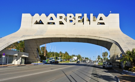 Marbella, Spain, March 13, 2012:  Marbella entrance sign in Marbella, Spain. This iconic entrance sign welcomes visitors to Marbella, the famous city of Costa del Sol