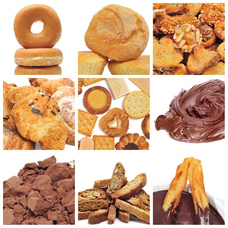 a collage of nine pictures of different pastries and bakery items photo
