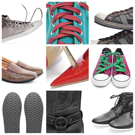 lace up: a collage of nine pictures of different shoes and sneakers Stock Photo