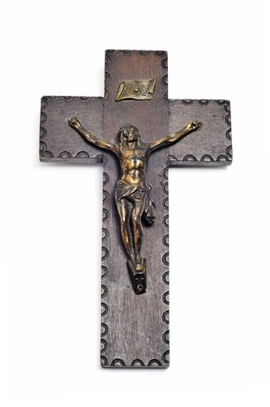 wooden figure: an antique figure of Jesus Christ in the holy cross